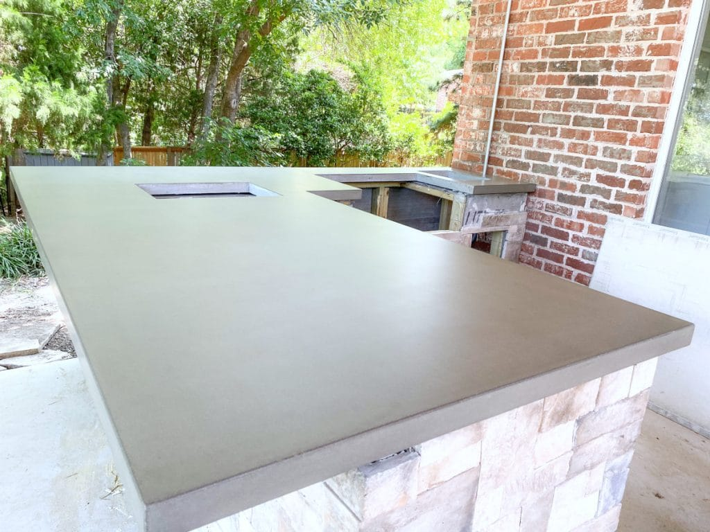 Large Medium Shade Grey Concrete Countertops for a Residential Outdoor Kitchen