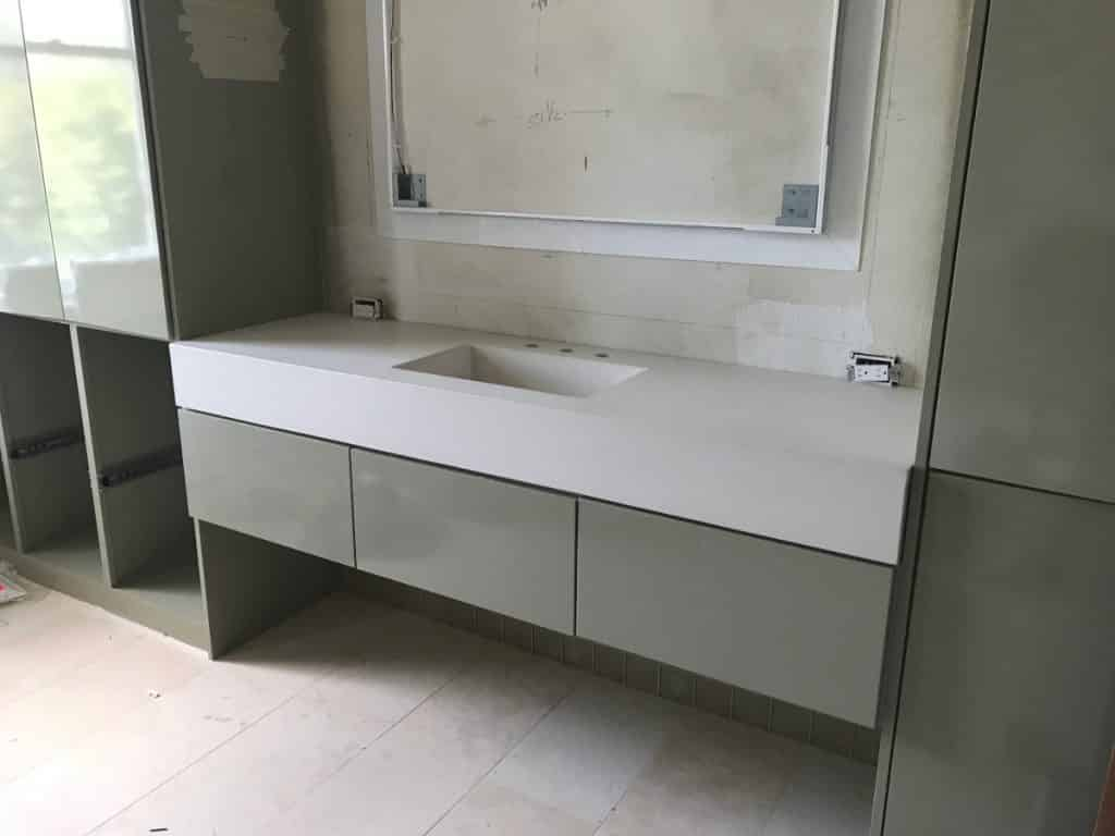 """Gorgeous bone white vanity with our 20"""" x 12"""" integral sink"""