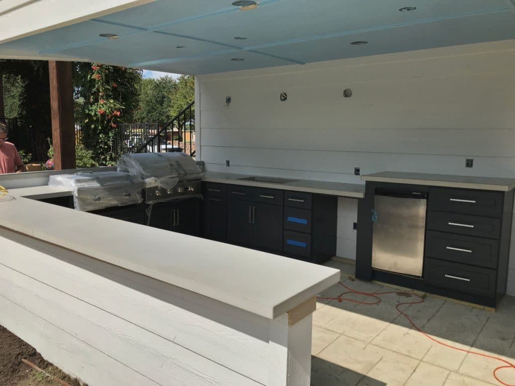 Light grey concrete countertops we made for this outdoor kitchen in Dallas, Tx