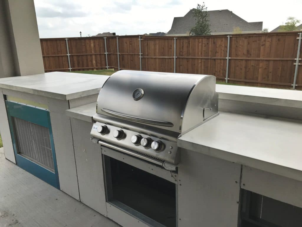 Large marble style concrete countertops for this outdoor kitchen in Prosper, Tx