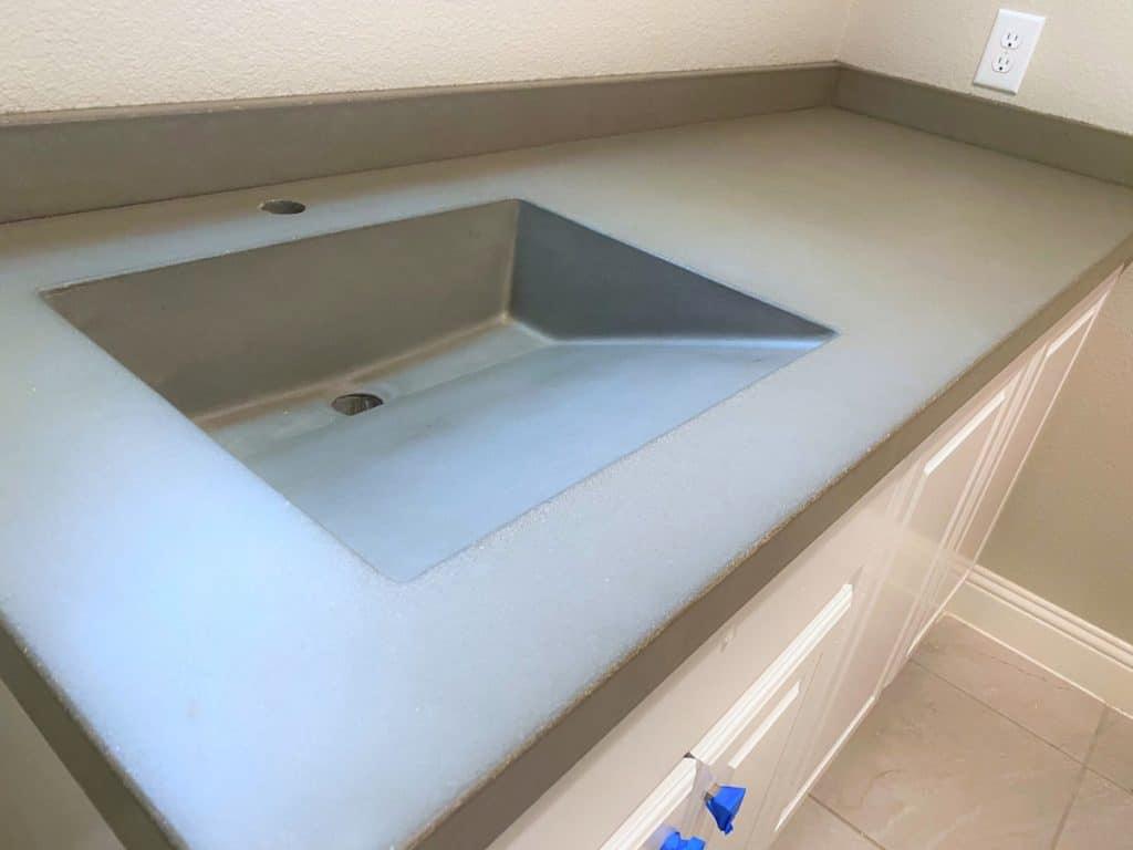 Concrete Ramp Sink with matching backsplash