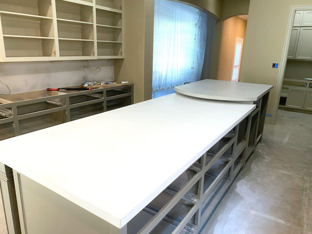 Large Two Level Concrete Countertop That has Become the Center Piece of this Kitchen!