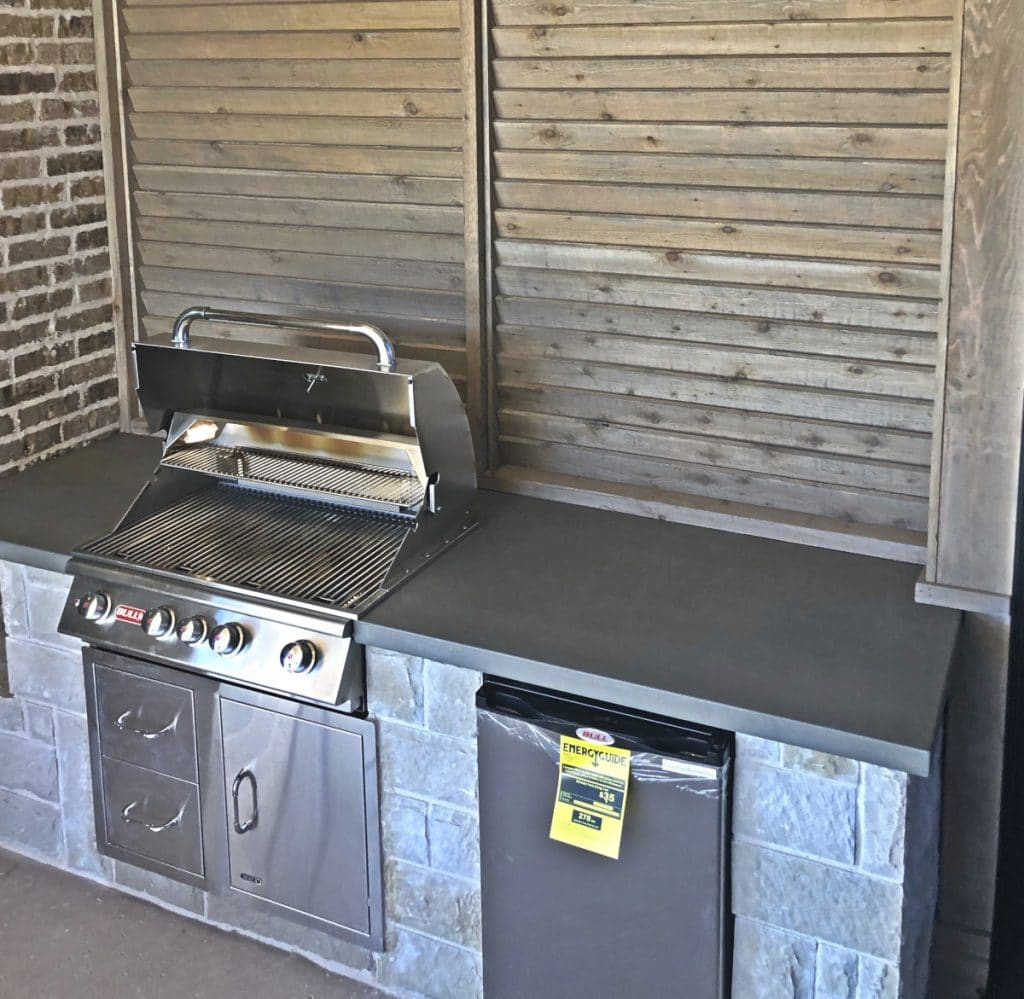 Grey concrete countertop we made for a Complete Solutions outdoor kitchen