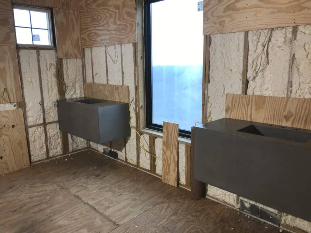 """Matching large floating concrete vanities with our 20""""x12"""" integral sink"""