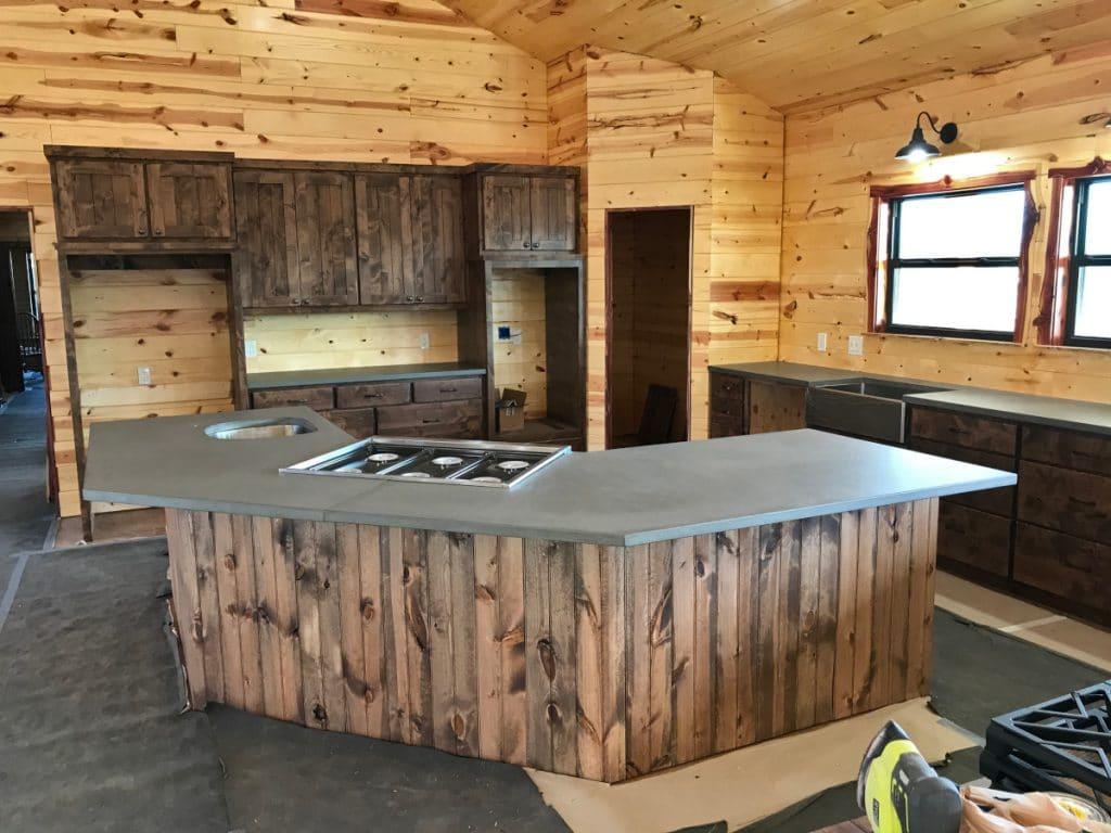Grey Concrete Kitchen Countertops on Cedar Cabinets