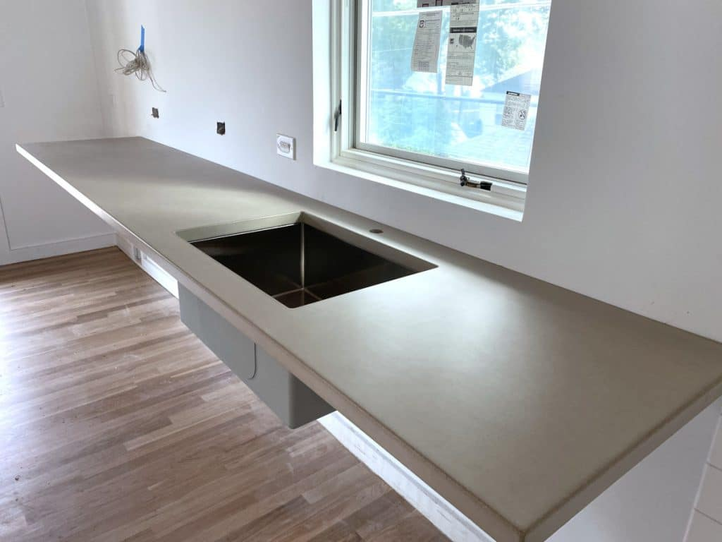 Floating Concrete Countertop in dance studio Plano Tx