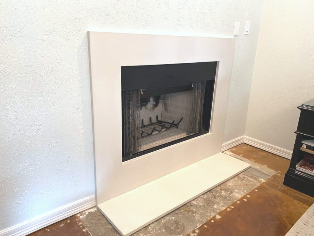 "1"" thick White Concrete Fireplace Surround and Matching Hearth for a Home in Dallas, Tx"