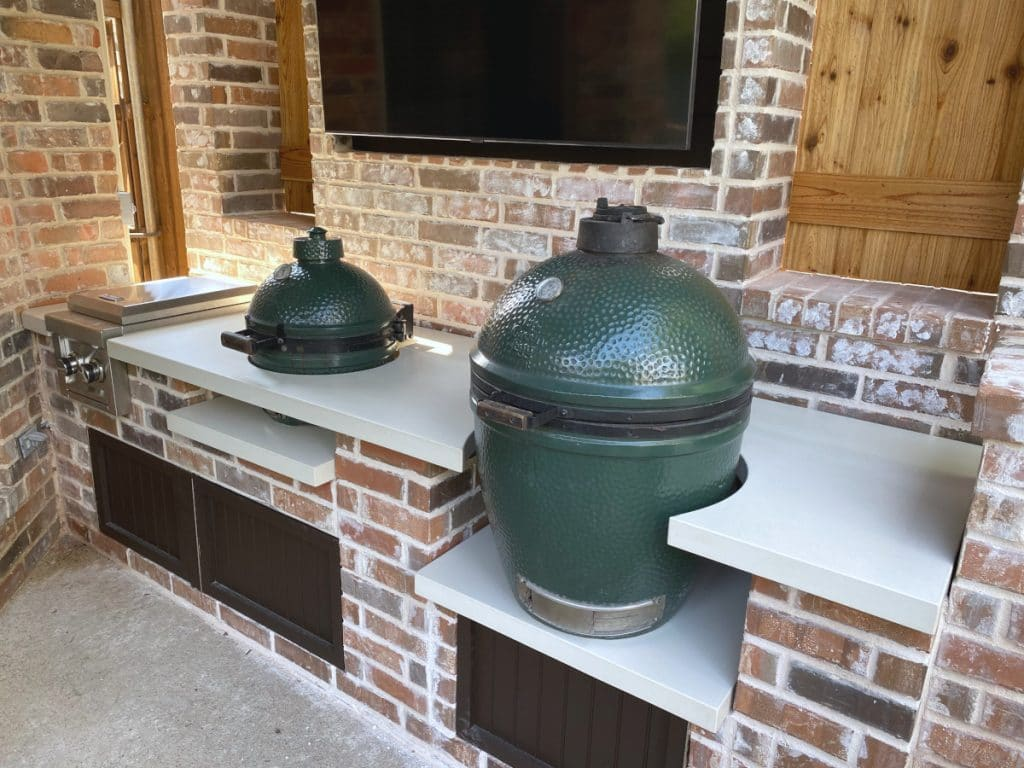 White Concrete Countertops Made Custom to Fit 2 Big Green Egg Smokers