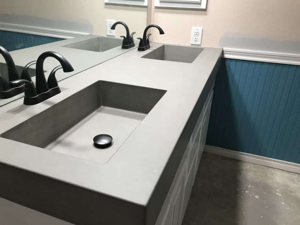 "4 1/2"" thick concrete vanity with our 20""x12"" integral sinks"