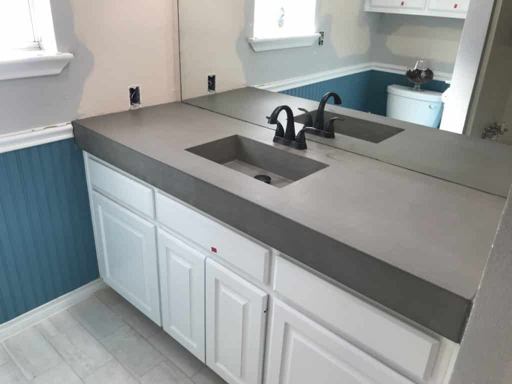 "4 1/2"" thick concrete vanity with our 20""x12"" integral sink"