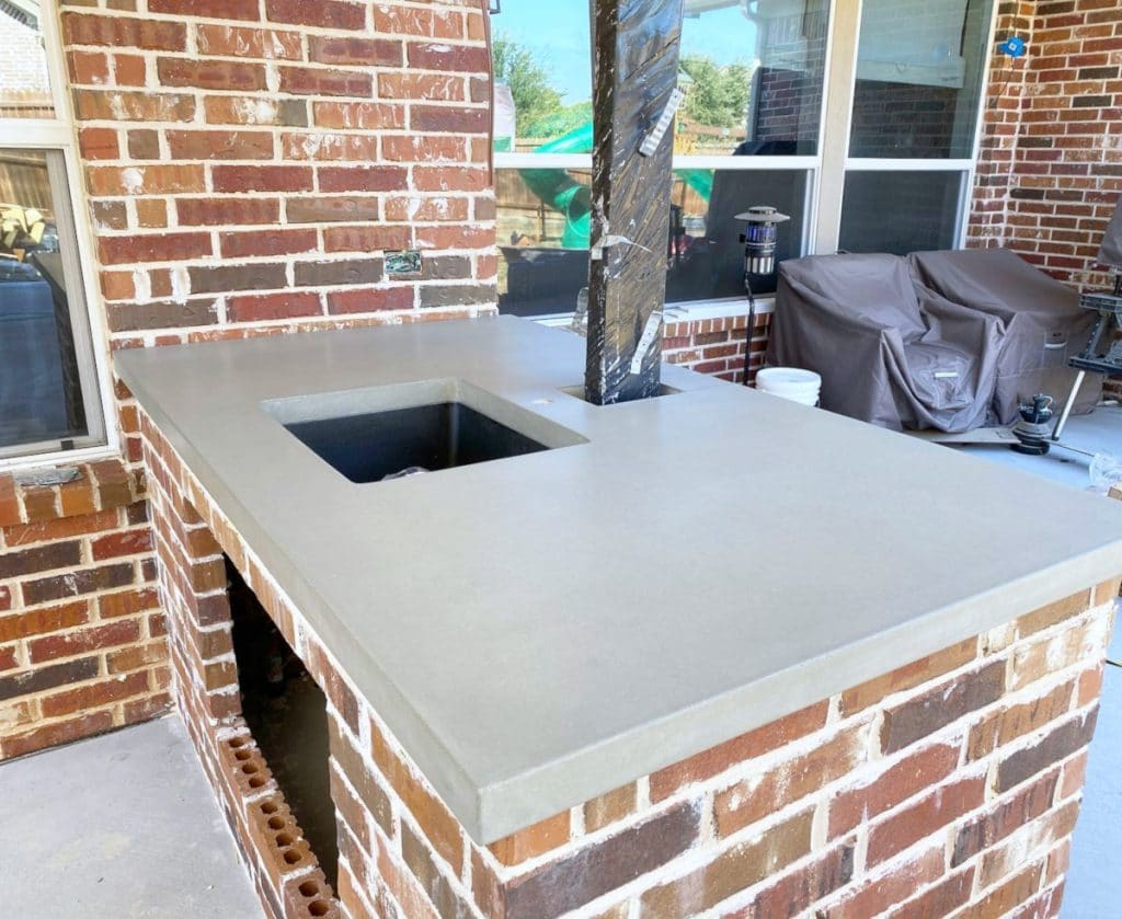Custom Concrete Countertop with an Undermount Sink for an Outdoor Kitchen