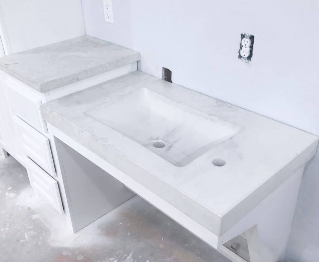 Two Level Marbled Concrete Vanity