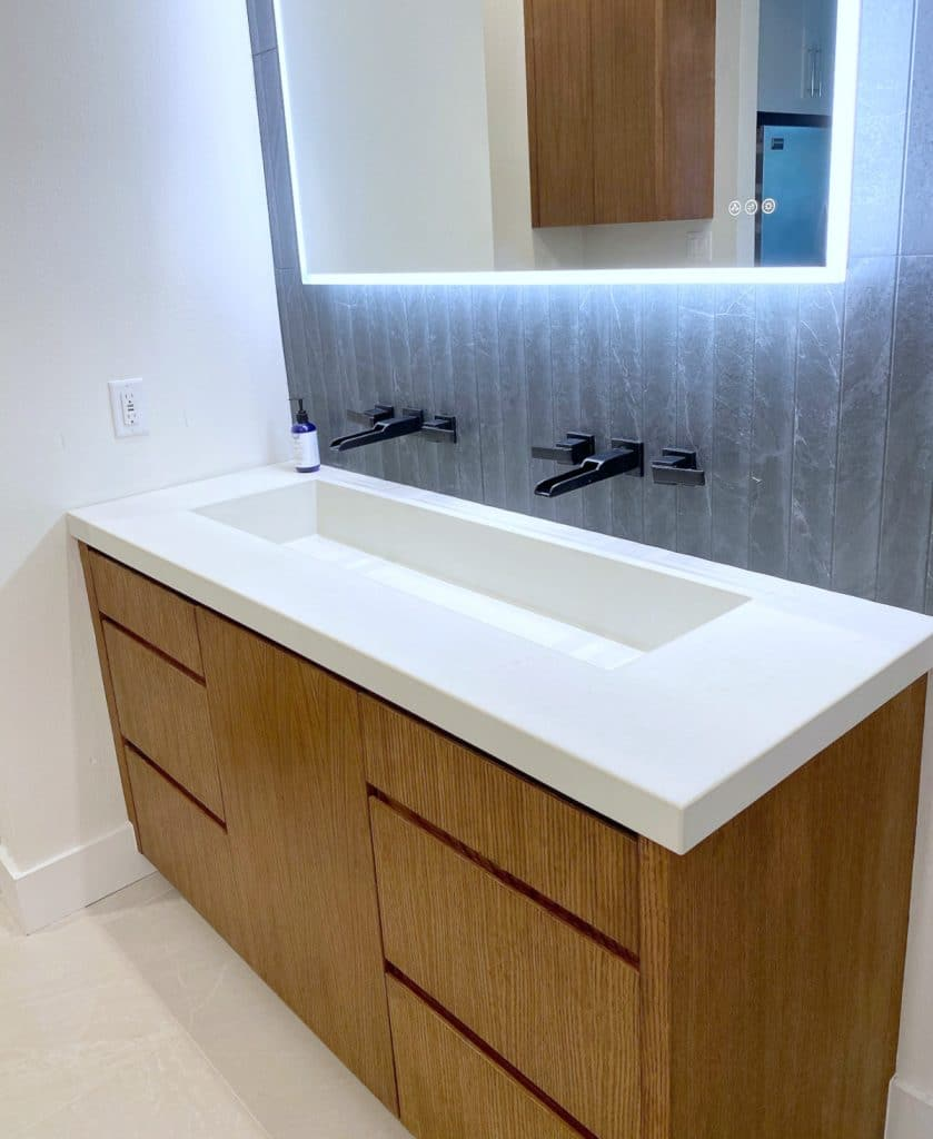 White Concrete Vanity with Trough Sink
