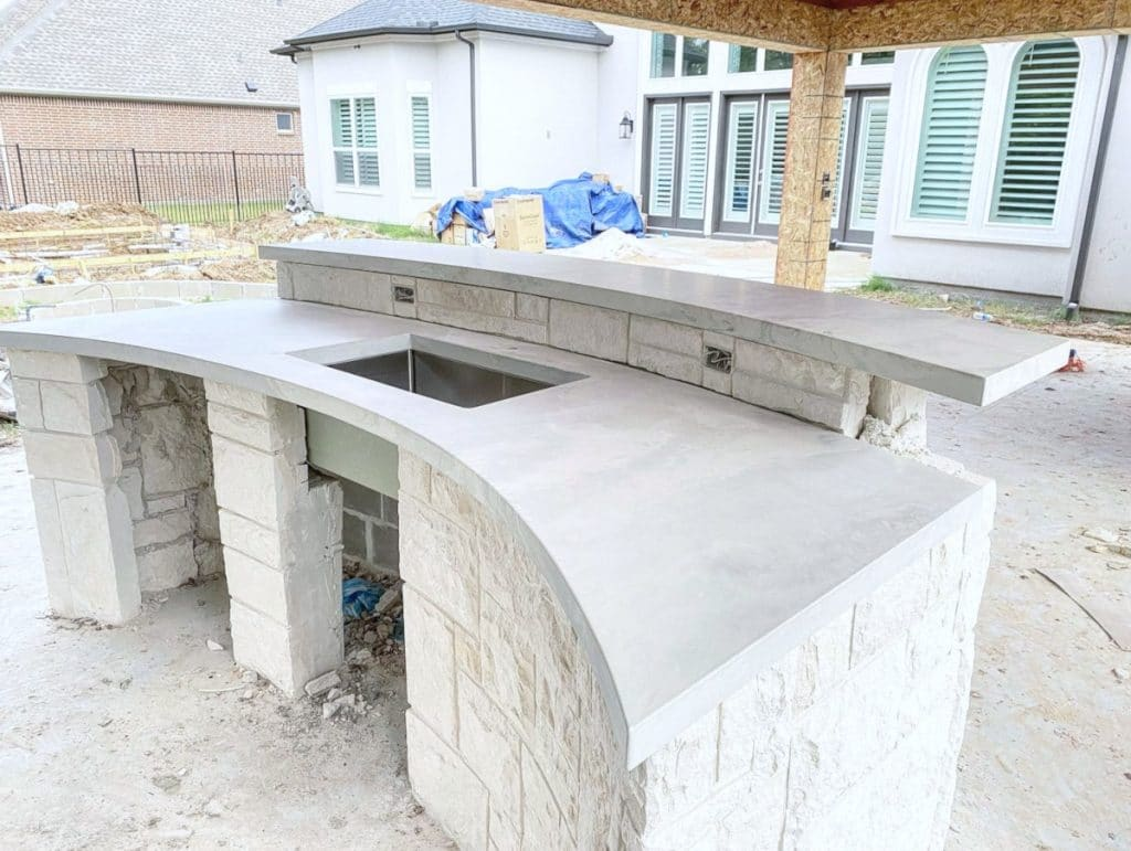 Custom Curved Concrete Countertop in our White Marble Color Option