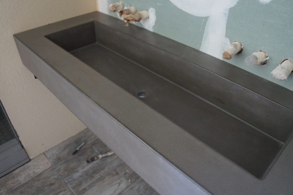 Concrete Trough sink installed in Coppell, Texas. This sink is 44 inches wide.