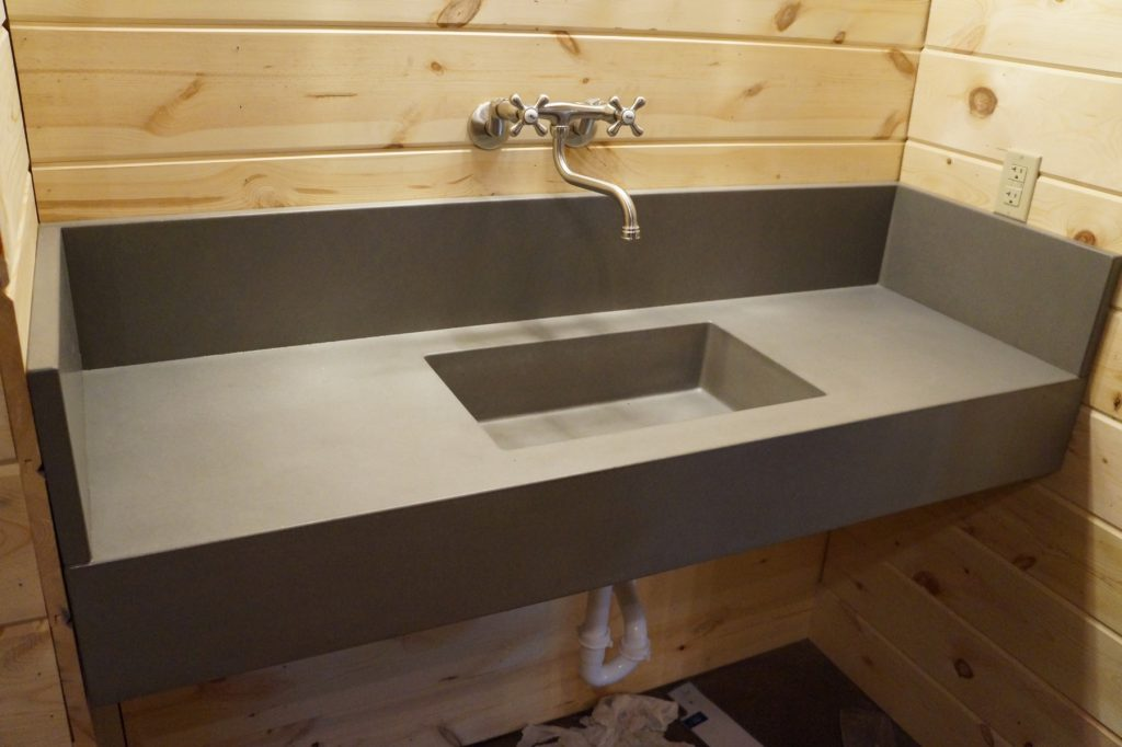 Floating Concrete Sink in the bathrooms of the Chapel Creek Ranch in Krum, Texas