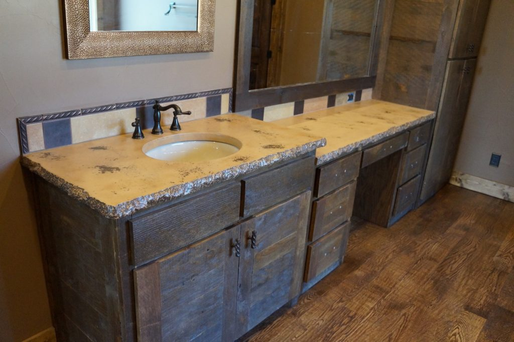 Bathroom Concrete Countertop With Undermount Sinks And Chiseled Edge,  Installed In Montague, Texas