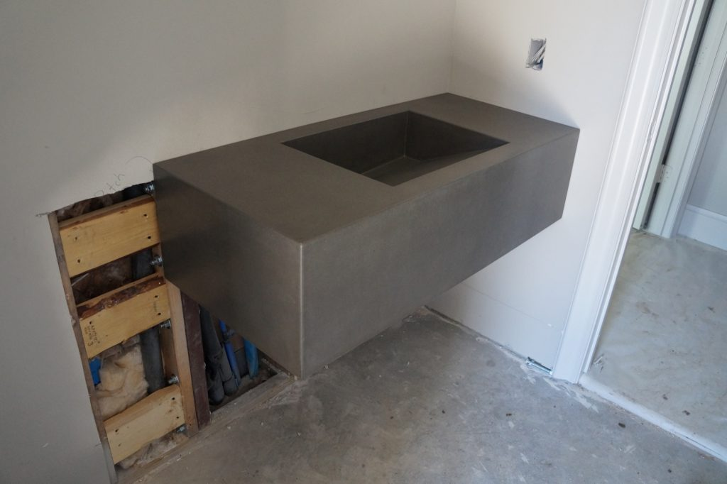Floating Concrete Sink with a 12 inch drop front, installed in McKinney, Texas