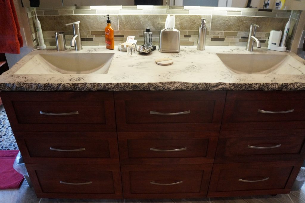 Bathroom Concrete Countertop with integral Barrel Sink, installed in Grapevine, Texas