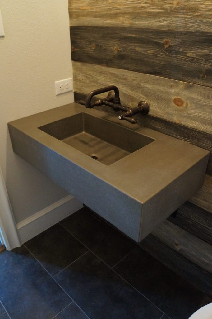 Floating Concrete Sink Installed In Bartonville Texas