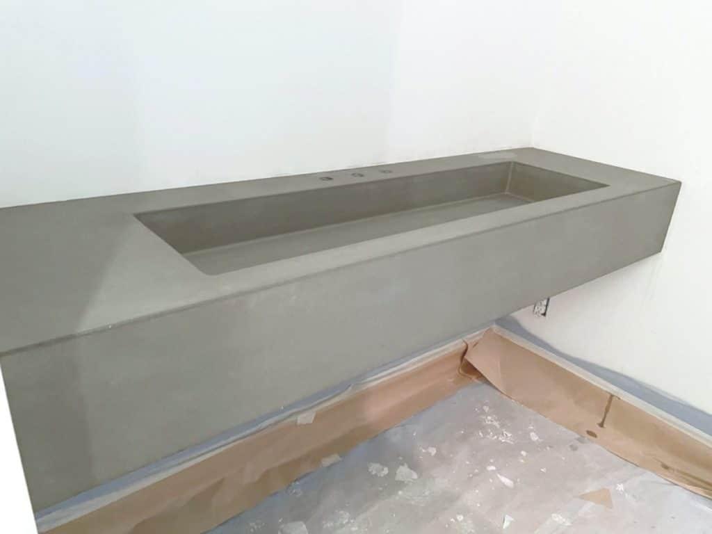 Thick Grey concrete trough sink