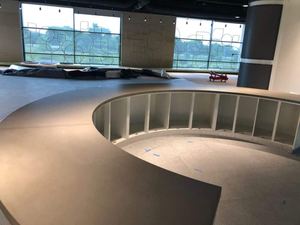 Grey Concrete Countertop For Half Circle Reception Desk