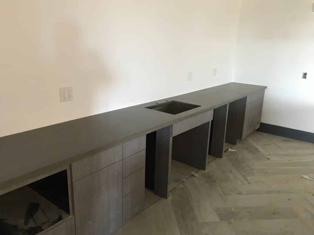 Grey Concrete Countertops and Sink For Community Center Kitchen