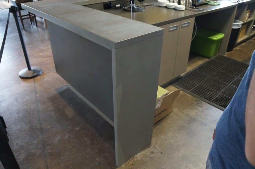 Waterfall Edge on Concrete Countertops we installed in a coffee bar in Dallas, Texas