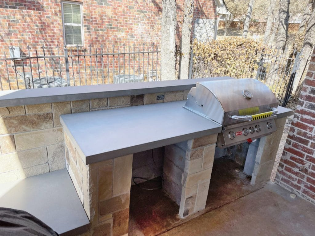Custom Concrete countertops for outdoor kitchen in Highland Village, Tx
