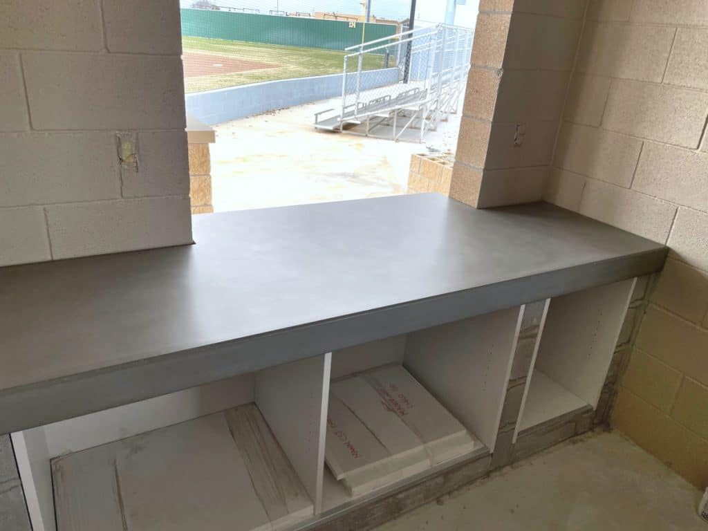 custom thick concrete countertops for a concession stand