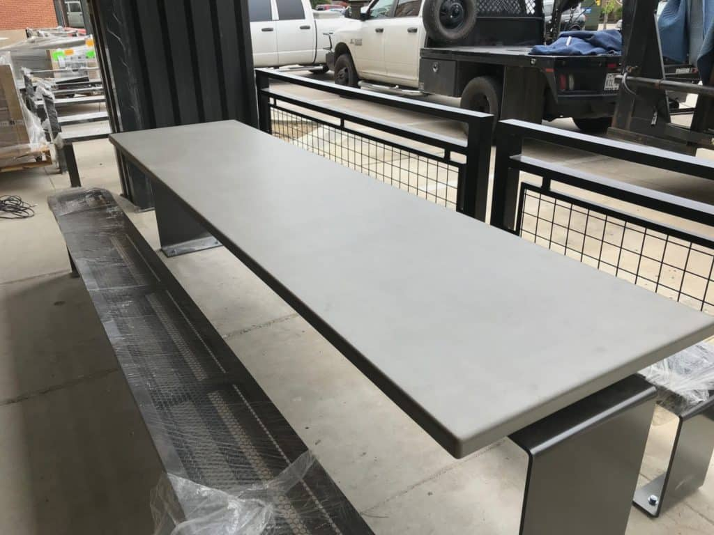 Grey Concrete Table Top For Outdoor Restaurant Seating