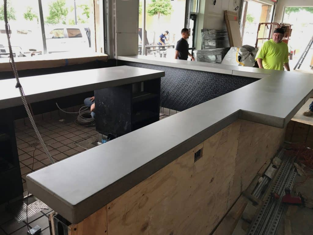 Grey Concrete Bar Top For a Dog Haus Restaurant