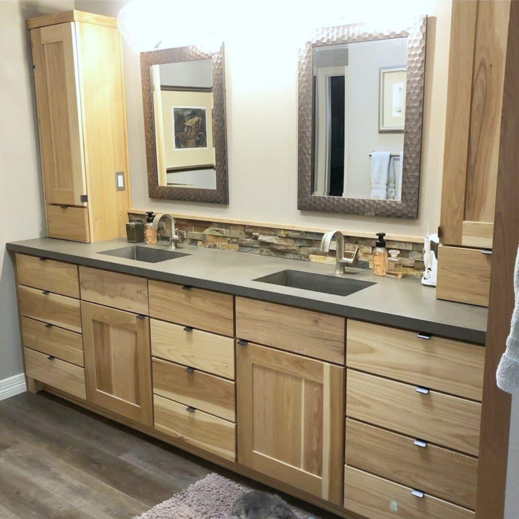 Grey concrete double sink vanity