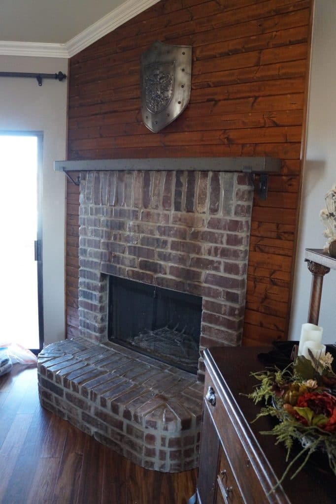 Concrete Mantle installed in Nevada, Texas. Color is gray with brown fill and this has our weathered edge.