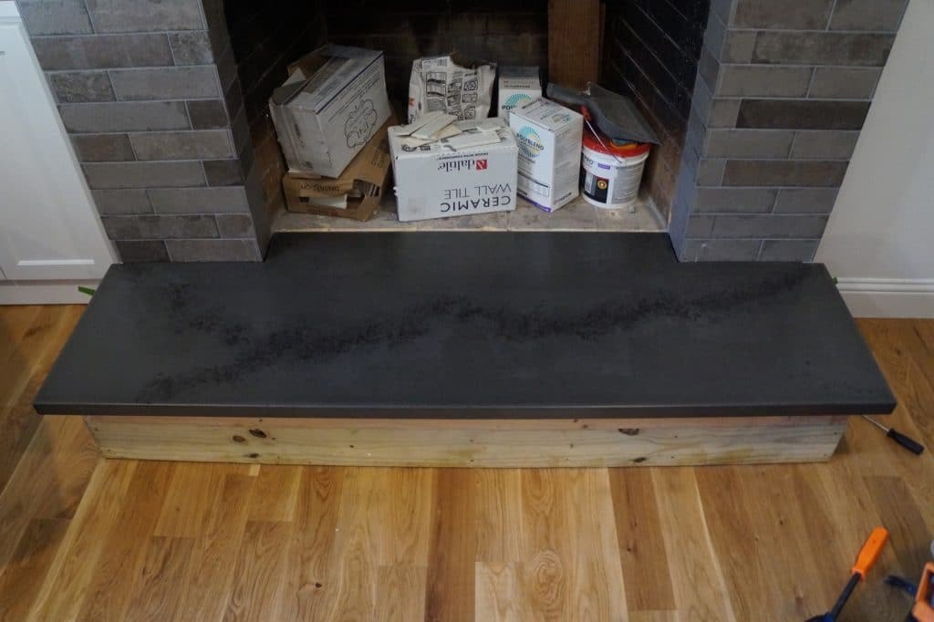 Grey with Black Vein Concrete Hearth, installed in Richardson, Texas