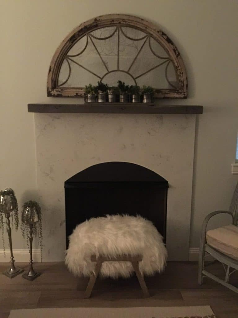 Concrete Fireplace Surround in the White Marble finish, installed in Rockwall, Texas