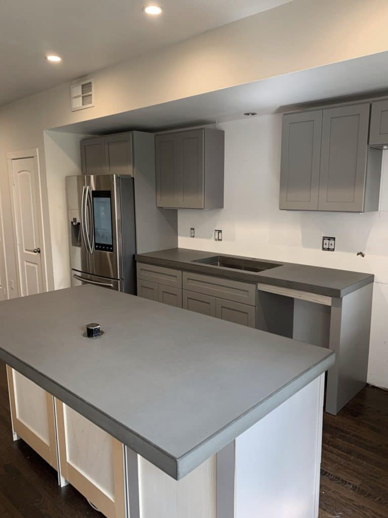 Grey Concrete Kitchen Countertps with Stainless Steel Sink