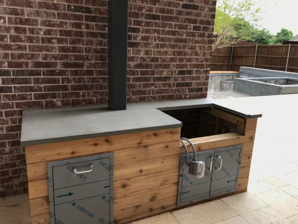 Nice and Simple Grey Countertop for a Hauk Custom Pool Outdoor Kitchen