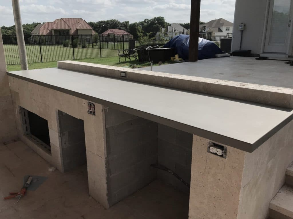 "Some 2"" Thick Concrete Countertops for a big Hauk Custom Pools Outdoor Kitchen"
