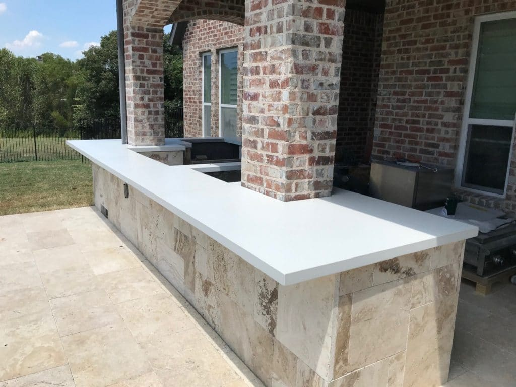 Beautiful Bright White Concrete Countertops for a Hauk Custom Pools Outdoor Kitchen