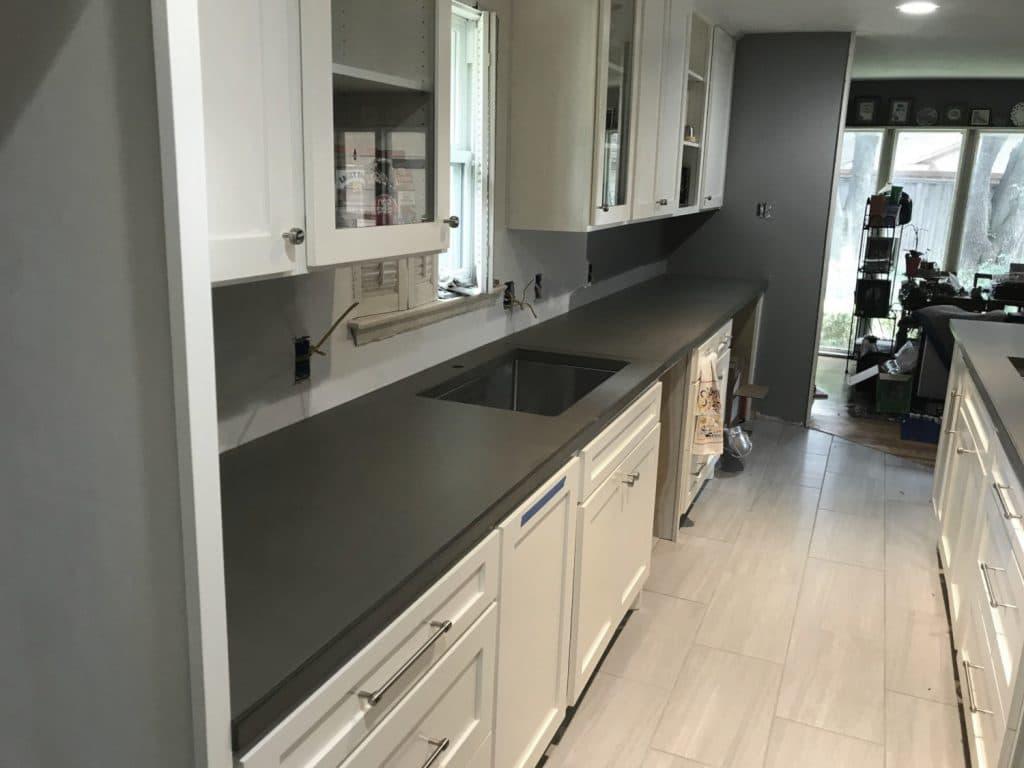 Beautiful Grey Concrete Countertops Installed for a Remodel in Dallas, Tx