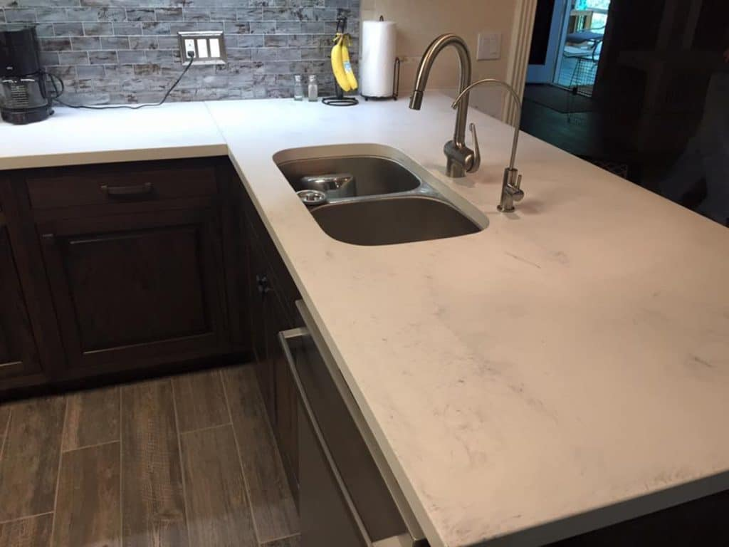 White Marble look concrete countertops with undermount SS sink in Aubrey, Texas