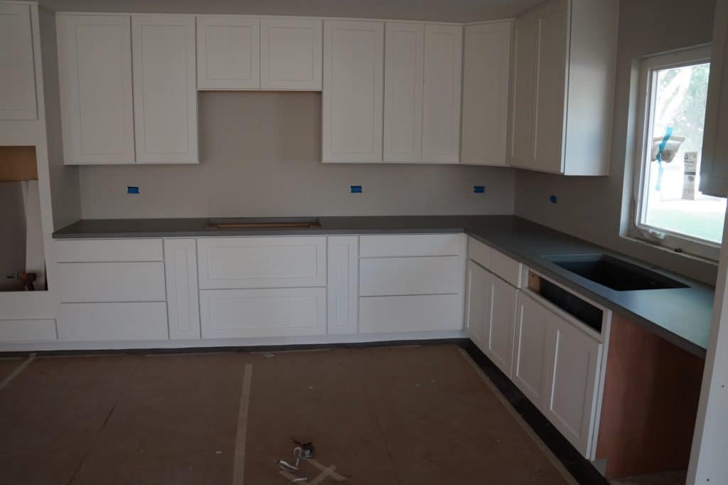 Modern looking grey concrete countertops installed in Flower Mound, Texas