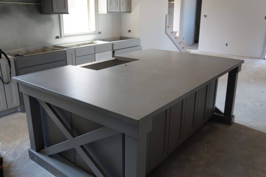 Gray Kitchen Island Top installed for Gary Camp Custom Homes in Prosper, Texas