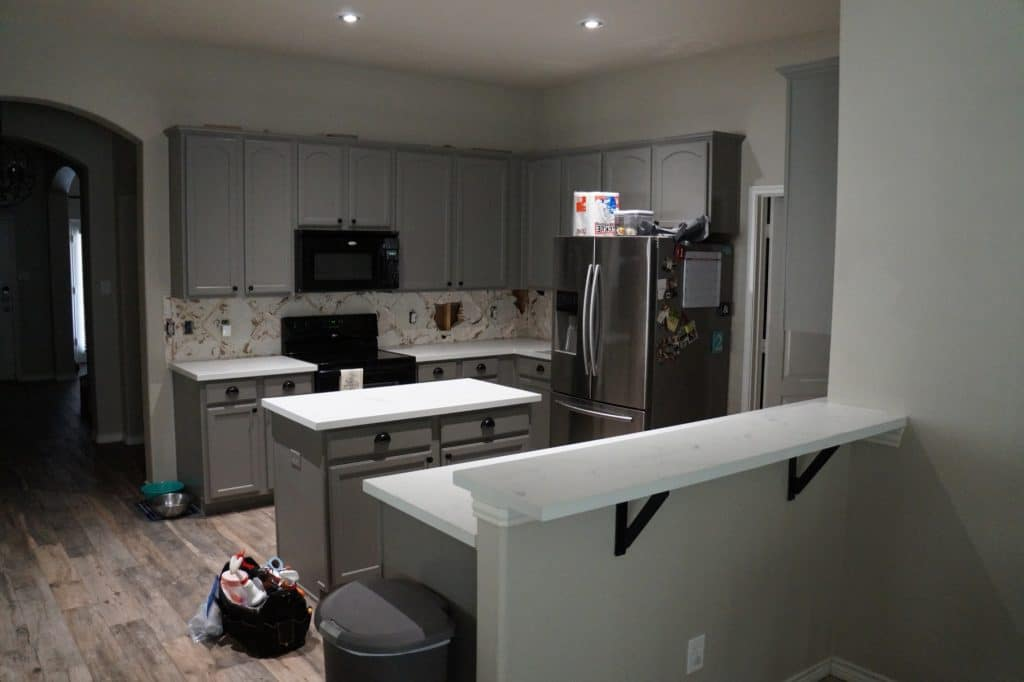 White Marble look concrete, kitchen countertops installed in Savannah, Texas