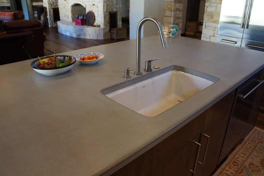 "Concrete Kitchen Countertops in gray with a 3/4"" roundover on the edges. This was installed in Ft. Worth, Texas for David Lewis Builders"