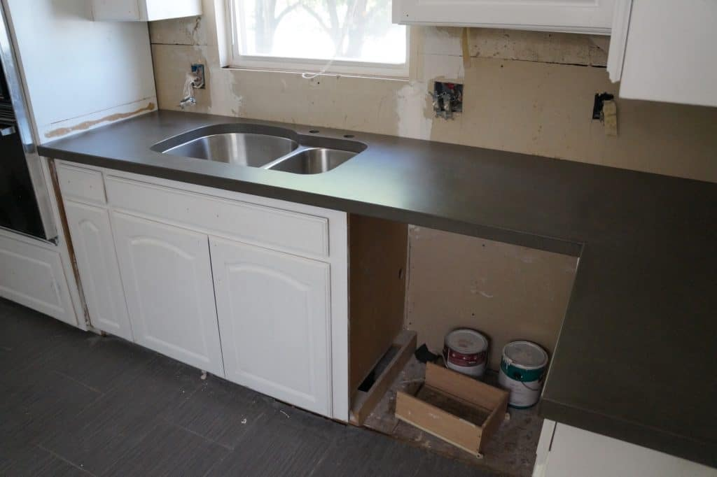 Gray Concrete Kitchen Countertops with undermount sink. Installed in Ft. Worth, Texas
