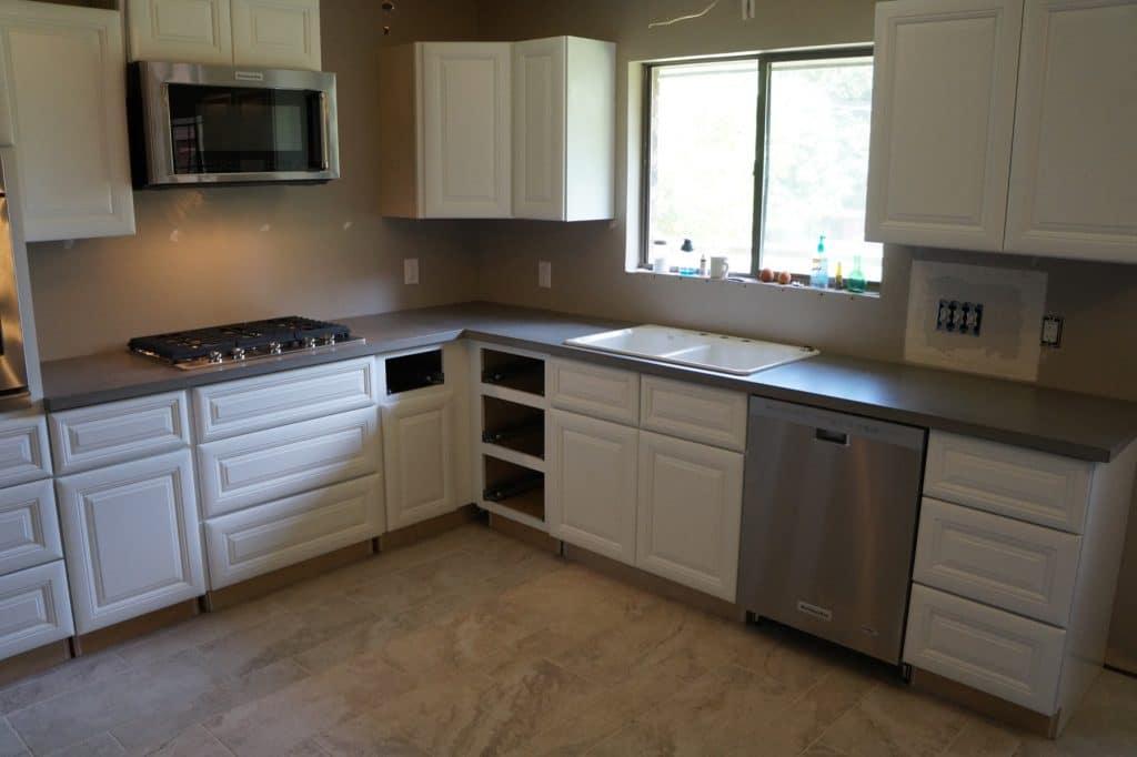 Gray Concrete Kitchen Countertops installed in Azle, Texas