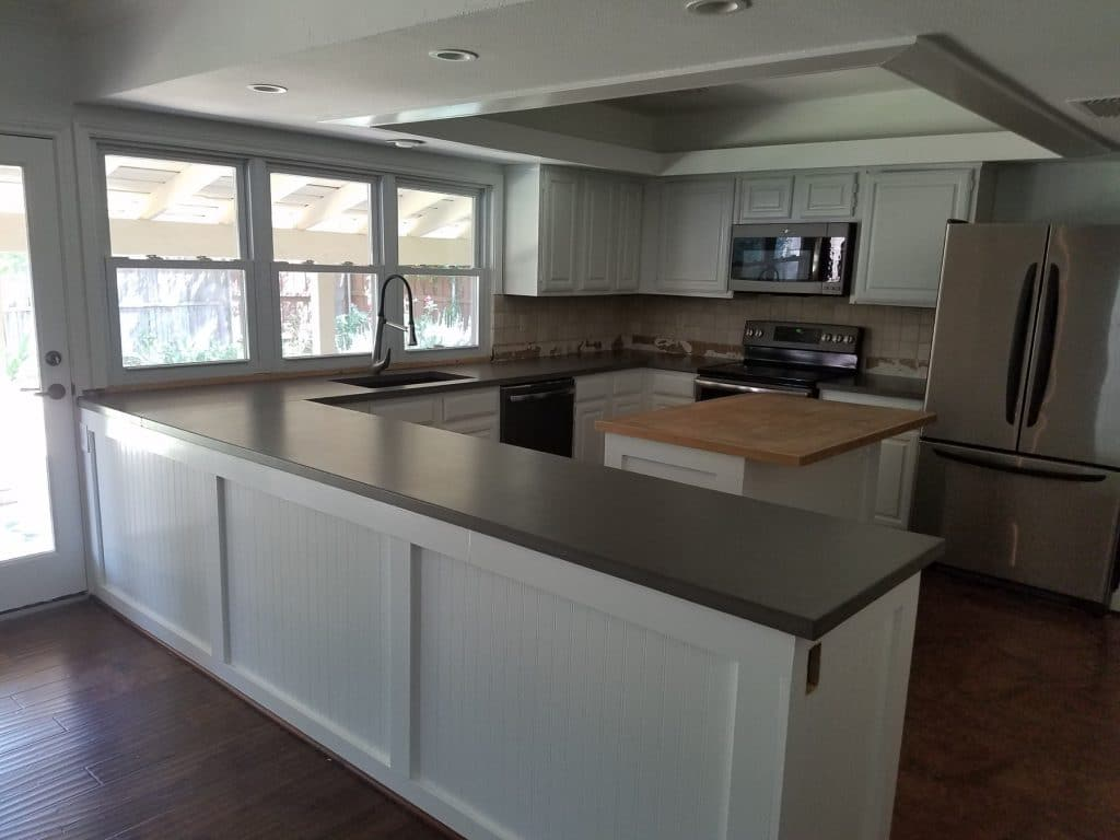 Gray Concrete Countertops Installed In Dallas, Texas