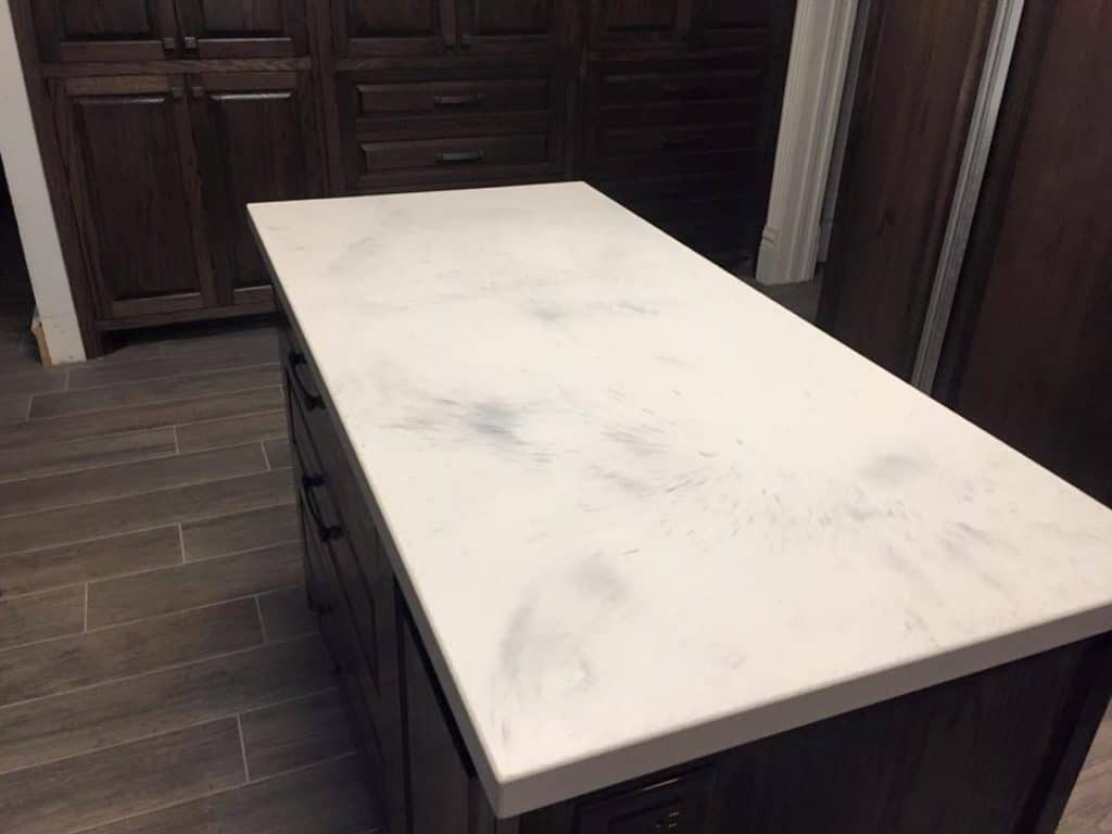Kitchen Island in our White Marble finish, installed in Aubrey, Texas